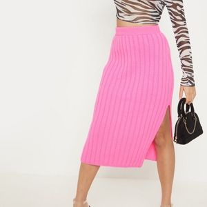 Prettylittlething Hot Pink Knit Sweater Skirt
